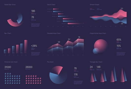 Infographic charts for business layout, presentation template and finance report. Data visualization with stock diagrams, statistic bars and charts.