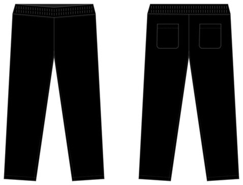 Casual jersey pants / sweat pants template vector illustration / black