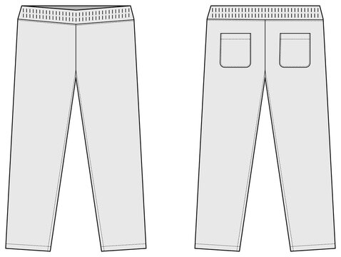 Casual jersey pants / sweat pants template vector illustration / white