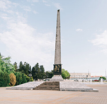"""Tuapse, Russia. Obelisk """"To Fighters for Soviet Power"""" on square of October Revolution."""