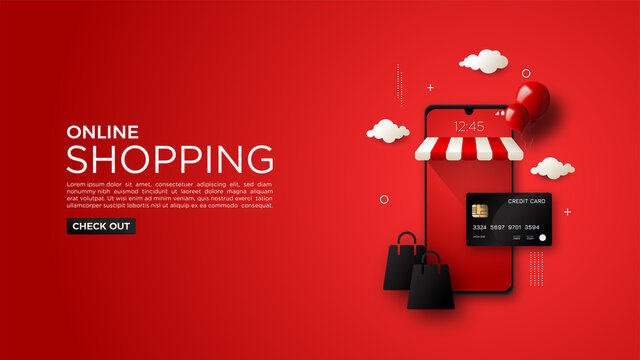 Online shopping background, with black card illustration and elegant red mobile phone.
