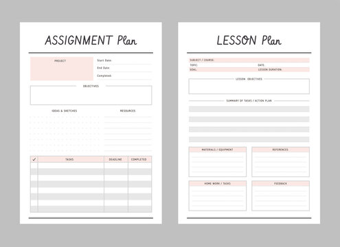 Set of assignment and lesson planner sheets. Clear and simple printable to do list. Business organizer page. Paper sheet. Realistic vector illustration.