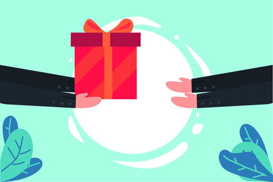 Business vector concept: Businessperson hands giving a gift to his partner for a bribe