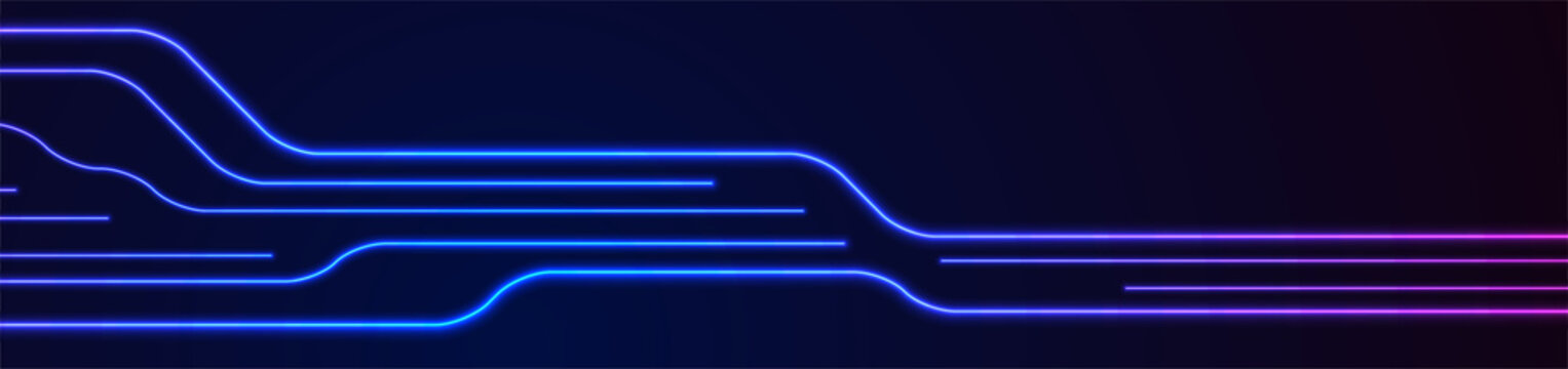 Glowing blue purple neon circuit board lines abstract banner design. Technology vector background
