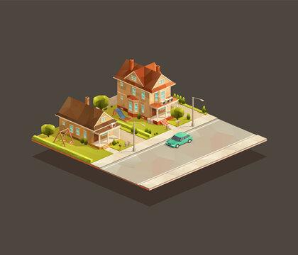 Set of Suburbian family houses