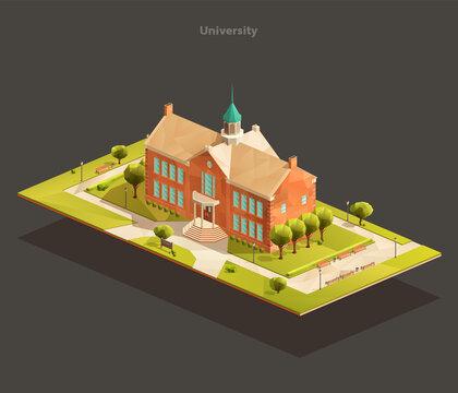 University isometric low poly illustration