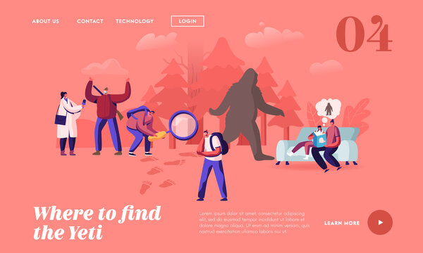 People Search Yeti Landing Page Template. Reading Fairy Tales about Bigfoot Character, Shaggy Beast with Long Brown Hair