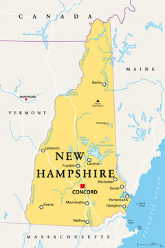 New Hampshire, NH, political map, with capital Concord. State in the New England region of the United States of America. The Granite State. The White Mountain State. Illustration. Vector.
