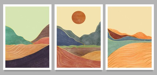 set of creative minimalist hand painted illustrations of Mid century modern. Natural abstract landscape background. mountain, forest, sea, sky, sun and river