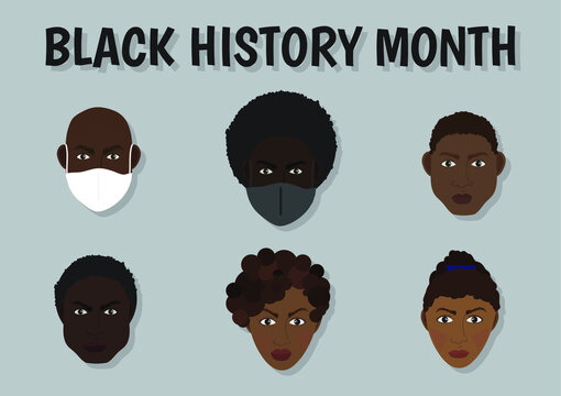 Black History Month characters wearing face masks vector illustration
