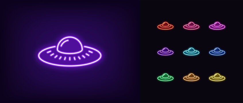 Neon alien UFO, glowing icon. Neon alien spacecraft, UFO spaceship
