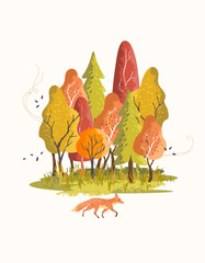 A colourful autumn forest fall scene with trees changing colour as a fox walks past. Vector illustration.