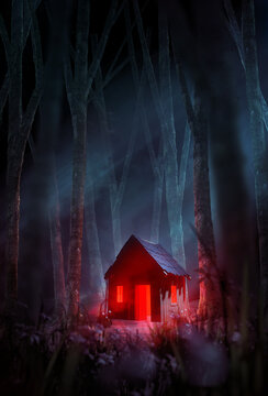 A creepy cabin in the woods, with a red light glowing through the door and windows set in a misty forest at night. 3D illustration