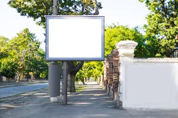 Fototapeta Big blank billboard on the road. Mock up screen background obraz