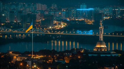 Motherland and the main flagpole of the country, which was installed by Klitschko. View of the left bank of Kiev