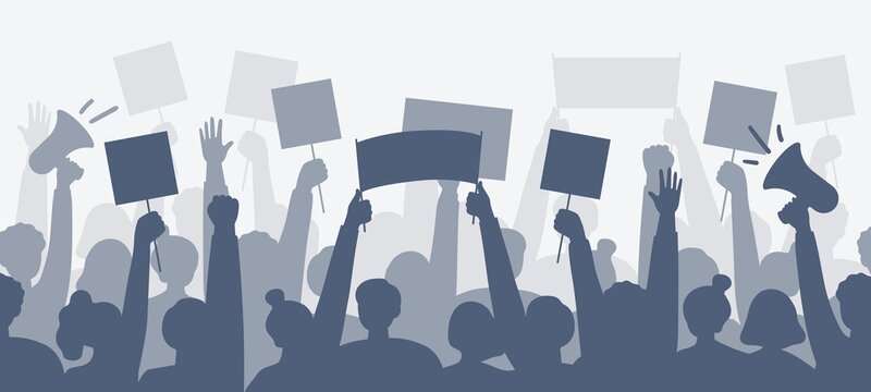 Silhouettes of people with posters, bullhorns. Expression of political, social, personal position. Revolution, demonstration, protest concept. Vector flat illustration.