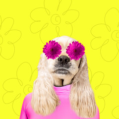 Photo sur Aluminium Fleur In love. Modern design. Contemporary art collage with cute dog and trendy colored background with geometric styled elements. Inspirative art, pets, animal, style and fashion concept. Copyspace.