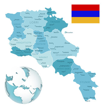 Armenia administrative blue-green map with country flag and location on a globe. Vector illustration