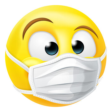An emoji or emoticon face wearing PPE medical mask
