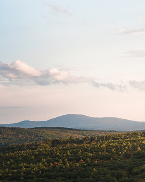 A view of Mount Wachusett from Mount Watatic in north central Massachusetts at sunset.