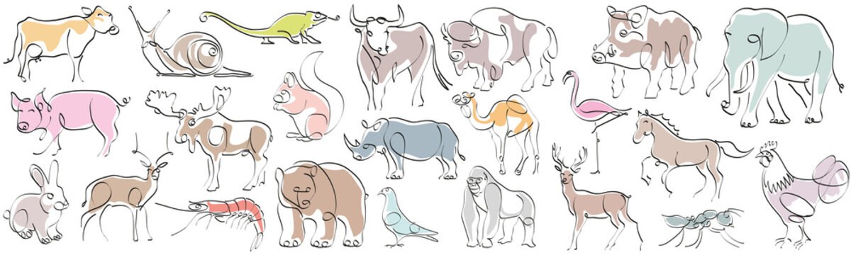 Set of animals in hand drawn minimalism style. Continuous line drawing vector illustration.