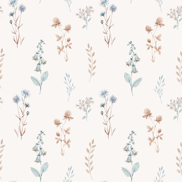 Beautiful vector seamless floral pattern with watercolor autumn fall flowers. Stock illustration.