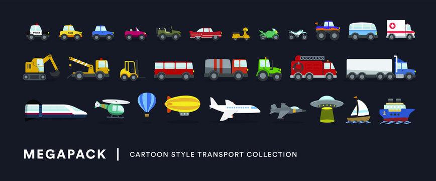 Vehículos de transporte. Megapack. Coches, camiones, aviones, trenes y otros transportes. Ilustración vectorial estilo infantil.