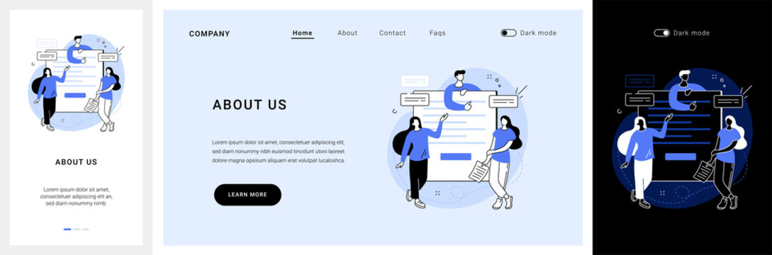 About us website UI kit. Website menu, company information, corporate history and philosophy, starting web page, who we are, UI element, business profile landing and mobile app vector UI template.