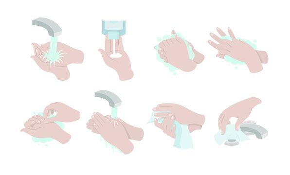Cómo lavarse las manos correctamente. Ilustración vectorial de lavado de manos. Manos enjabonándose y enjuagando