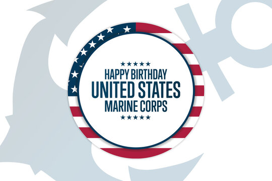 Happy Birthday United States Marine Corps. November 10. Holiday concept. Template for background, banner, card, poster with text inscription. Vector EPS10 illustration.