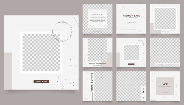 social media template banner fashion sale promotion. fully editable instagram and facebook square post frame puzzle organic sale poster. brown grey white vector background