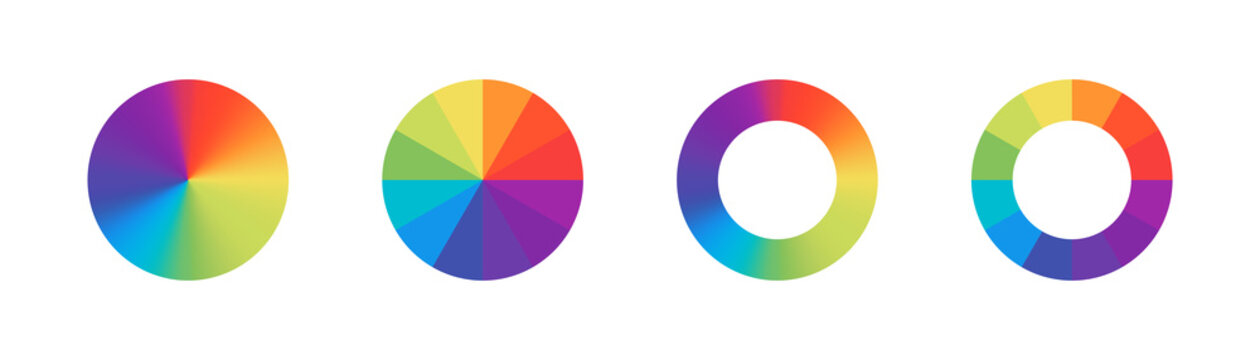 Color wheels. Vector isolated elements.Wheel colour spectrum. Circle palette. Multicolored circle flat template.  Stock vector.