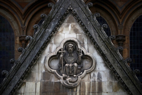 A stone detail is seen outside of Westminster Abbey in London