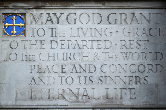 Stone inscriptions are seen outside of Westminster Abbey in London