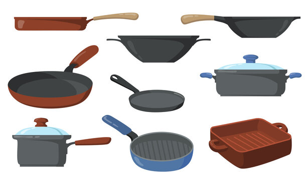 Kitchen pots set. Frying pans and saucepans, skillet with handle and wok. Vector illustrations collection for kitchenware, utensil, cooking concept