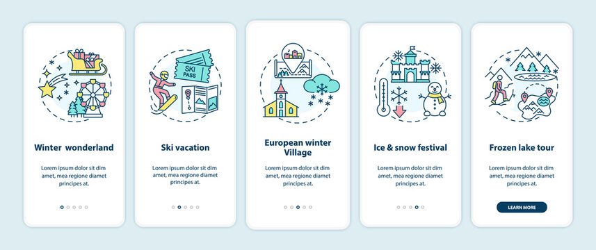 Winter vacation places onboarding mobile app page screen with concepts. Winter wonderland, ski vacation walkthrough 5 steps graphic instructions. UI vector template with RGB color illustrations