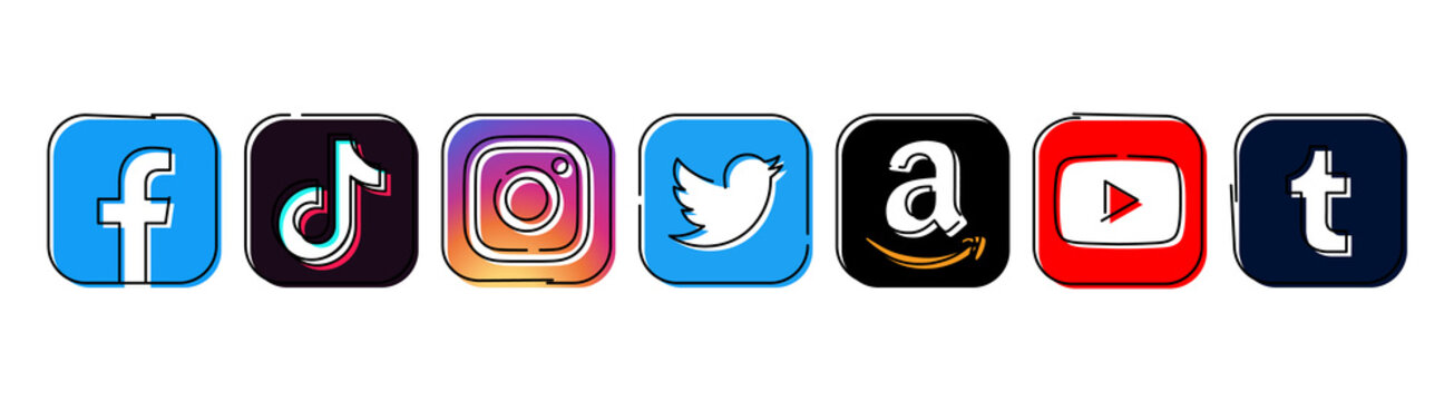 Set of popular Social Media and Mobile Apps icons in hand drawn line design