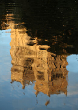 Durham Cathedral is seen reflected in the river Wear in Durham