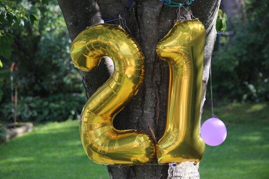 Happy 21st or Twenty-First Birthday Baloons!
