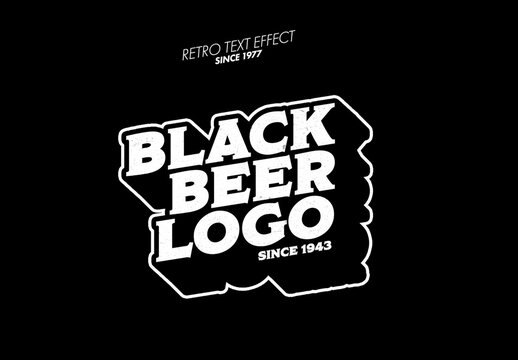 Black Outlined Logo Design Text Effect Mockup