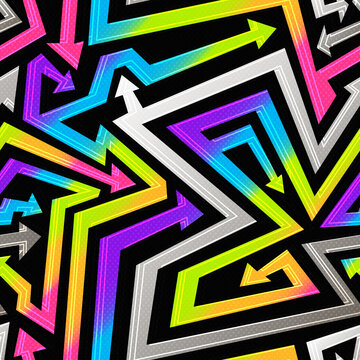 Rainbow geometric arrows. Seamless pattern.