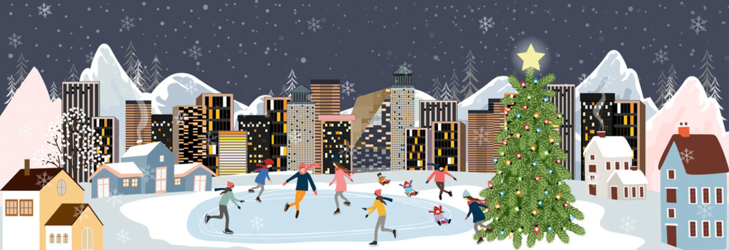 Winter landscape at night with people having fun doing outdoor activities on new year,Vector city landscape on Christmas holidays with people celebration, kid playing ice skates,