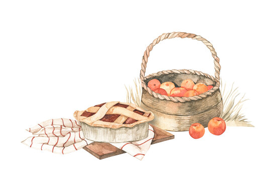 Watercolor Autumn harvest illustrations with apple basket, apple pie and yellow grass. Fall elements. Eco Farm. Perfect for invitations, greeting cards, posters, prints, social media