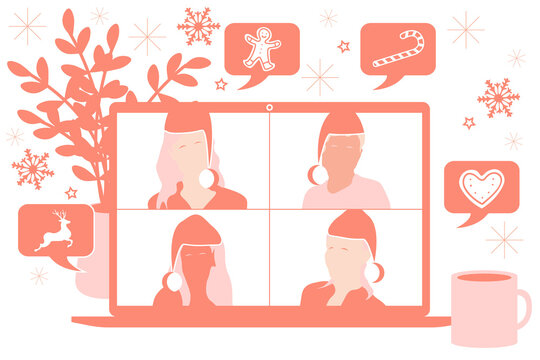 Christmas video call conference or meeting people with Christmas hats talking about the news and global events. Stream friends. Chatting from home. Vector flat illustration.