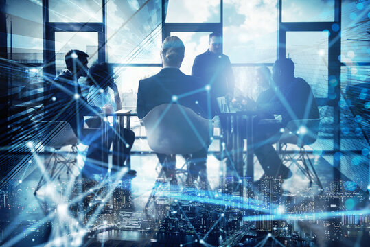 Network background concept with business people silhouette working in the office. Double exposure and network effects