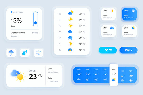 GUI elements for weather forecast mobile app. Temperature, atmospheric pressure, weather condition user interface generator. Ui ux toolkit vector illustration. Current and hourly forecast components.
