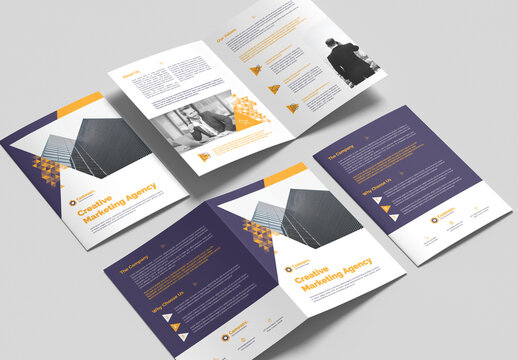 Bifold Brochure Layout with Yellow Gradient Triangle Elements