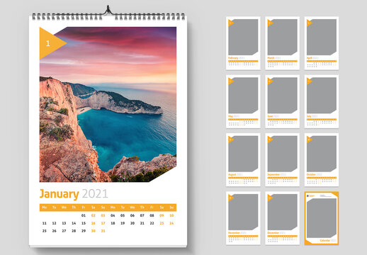 2021 Wall Calendar Layout with Yellow Triangle Elements