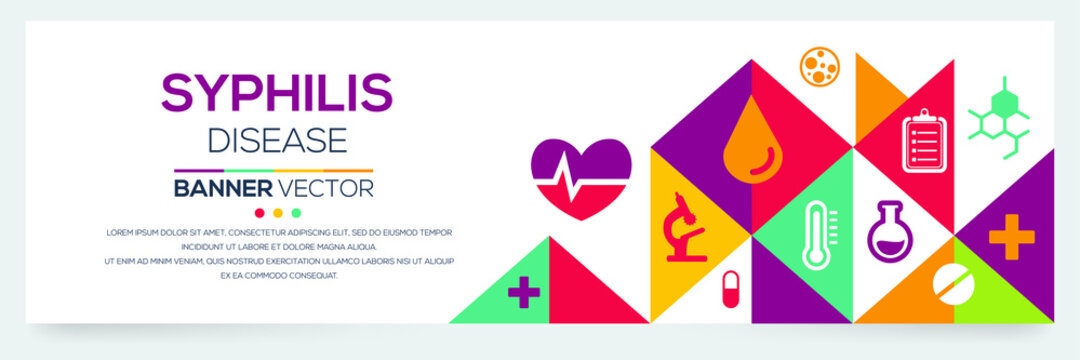 Creative (Syphilis) disease Banner Word with Icons ,Vector illustration.