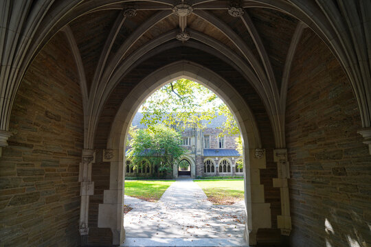 PRINCETON, NJ -30 SEP 2020- View of gothic arches at Rockefeller College, one of six residential colleges on the campus of Princeton University in Princeton, New Jersey, United States.